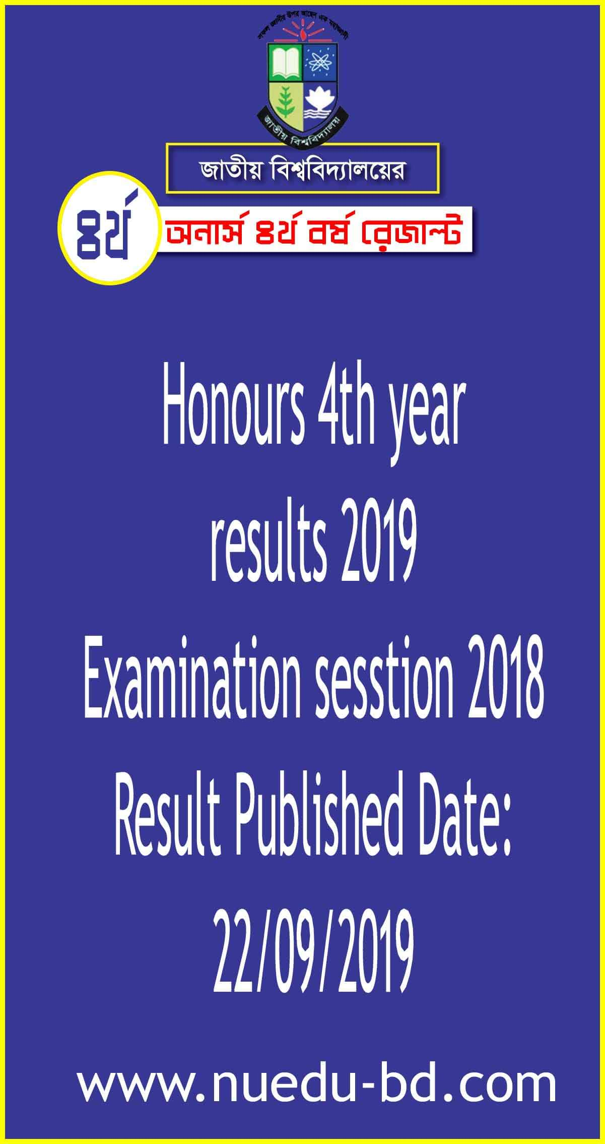 honours 4th year result 2019 exam session 2018