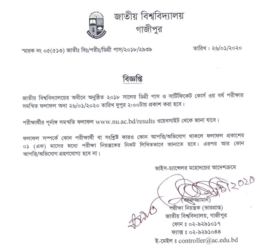 Degree consolidated result