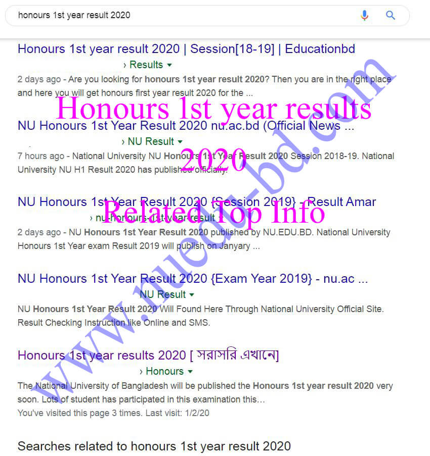 Honours 1st year results 2020 direct